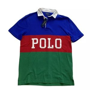 Polo Ralph Lauren Spell Out Colorblock Polo Shirt
